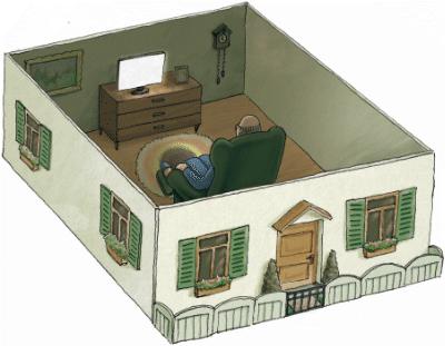 Zeichnung: Alter Mann sitzt in seinem Haus alleine vor dem Fernseher