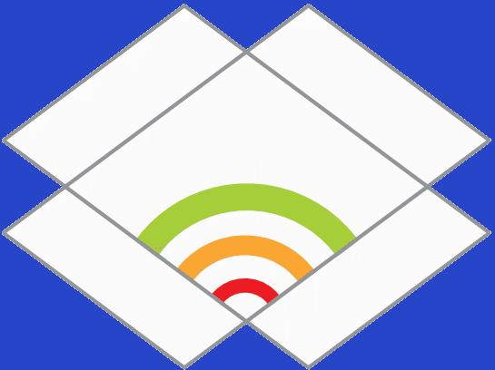 Logo Vitale Gemeinde: Symbol einer geöffneten Schachtel, in der ein Regenbogen zu sehen ist