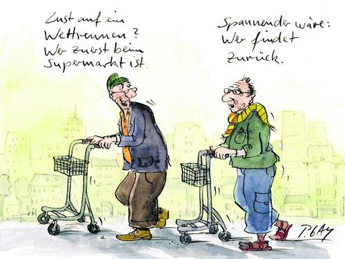 Cartoon mit zwei Senioren mit Rollatoren