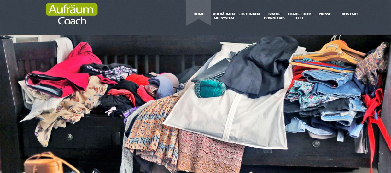 """Startbildschirm der Website """"Aufräumcoach.at"""""""