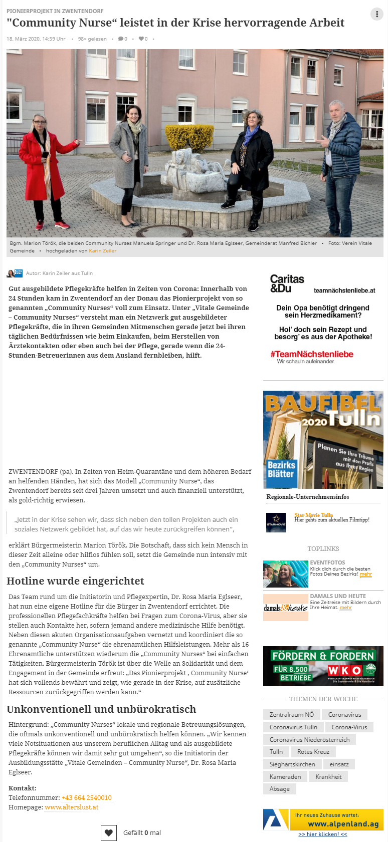 Artikel meinbezirk.at 18.03.2020